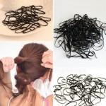 Пакет силиконови черни ластички за коса - малки