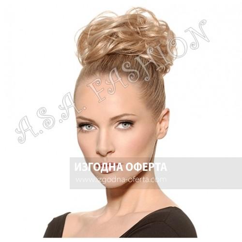 Рус небрежен кок от изкуствен косъм