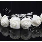 Луксозни фуркети с бяла  розичка от сатен