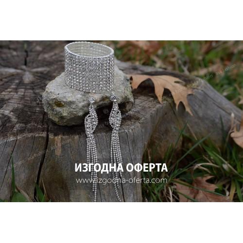 Бижута с кристали-гривна и обеци