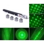 Мощен зелен лазер с пет различни приставки.