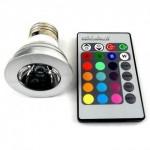 RGB LED 5W цветна светодиодна лампа/крушка с дистанционно управление Е27 цокъл