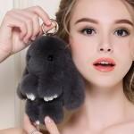 Ключодържател Зайче от естествен косъм - черен цвят