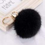 Висулка ключодържател помпон от естествен косъм-черен цвят