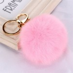 Висулка помпон за чанта/ключодържател от естествен косъм-розова