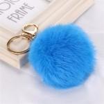 Висулка помпон за чанта/ключодържател от естествен косъм-синя