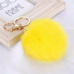 Висулка помпон за чанта/ключодържател от естествен косъм-жълта