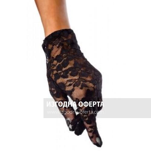 Дантелени къси черни ръкавици