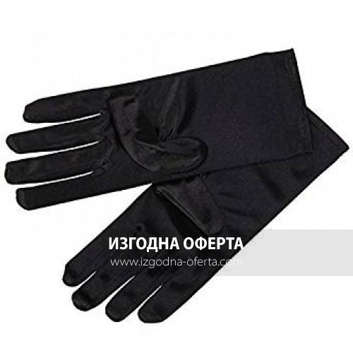 Къси сатенени черни ръкавици