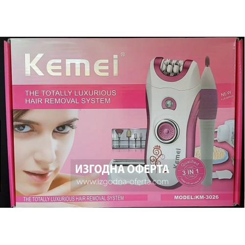 Епилатор , самобръсначка и инструмент за нокти 3 в 1  kemei model-KM-3026