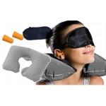 Комплект за удобно пътуване-възглавница за врат, маска за очи за сън, тапи за уши