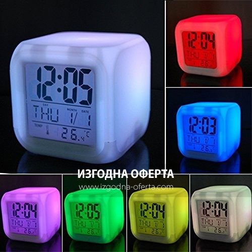 LED часовник със сменящи се 7 цвята-кубче