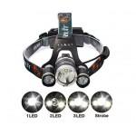 Лед Фенер за глава-Челник с 3 Лед диода T6 Cree и Zoom+2 презареждаеми батерии