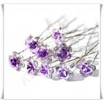 Красиви луксозни фуркети за коса с лилава розичка