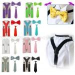 Детски комплект от 3 части - тиранти с вратовръзка и папионка