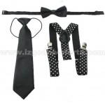 Комплект тиранти на бели точки с вратовръзка и папионка