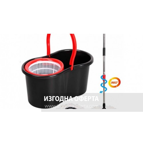 SPIN MOP BLACK-въртящ се самоизтискващ моп за почистване на под